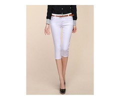 Slim Mid-Calf Mid -Waist Solid Color Pencil Pants