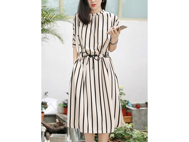 Tidebuy Lace-Up Stand Collar Batwing Sleeves Womens Dress   free-classifieds-usa.com