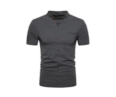 Tidebuy Plain Short Sleeve Mens Slim T-Shirt