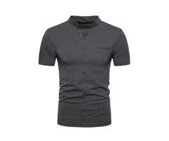 Tidebuy Plain Short Sleeve Mens Slim T-Shirt | free-classifieds-usa.com