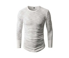 Tidebuy Plain Skinny Mens Long Sleeve T-Shirt