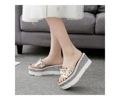 PVC Rhinestone Flip Flop Wedge Heel Womens Slide Sandals