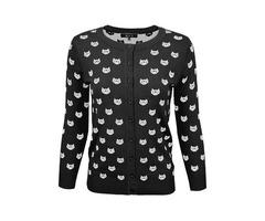YeMAK Sweater | Women's Cute Cat Patterned 3/4 Sleeve Button Down Stylish Cardigan Sweater MK3466