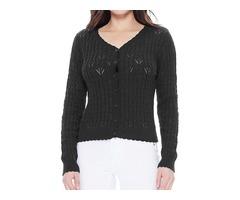 Vintage Lace Patterned V-Neck Long Sleeves Scallop Hem Casual Cardigan