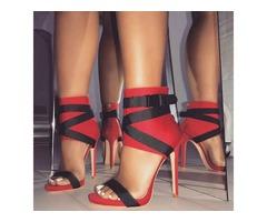High-Cut Upper Open Toe Heel Sandals