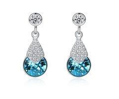 Sterling Silver Blue Topaz & Zircon Earrings