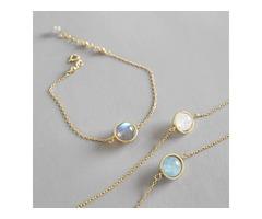 Sterling Silver Moon Stone Bracelet in Gold