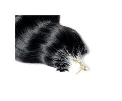 "JET BLACK MICRO LOOP HAIR EXTENSIONS 50 GRAMS/QTY LENGTH 20"" STRAIGHT"