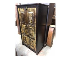 Rustic ANTIQUE ARMOIRE Hand Carved Country Cottage CHARM Cabinet Accent Storage