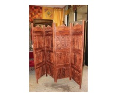 Antique 4 Panels Room Divider Handcarved Authentic Screen Headboard Wall Relief