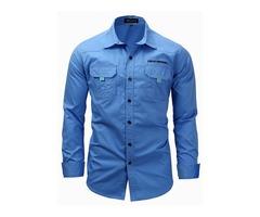 Tidebuy Cotton Plain Casual Mens Long Sleeve Shirt