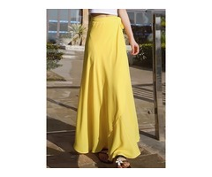 Lace-Up Pure Color Chiffon Womens Skirt