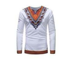 Tidebuy Long Sleeve Dashiki African Style Mens T-Shirt