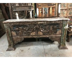 ECLECTIC Sofa Table Antique BLOCKS Media Console Table Rustic Wooden Hall Table