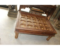Rustic EARTHY WOOD CHAI TABLE Antique Carved Coffee Table Reclaimed Brass STARS