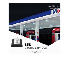 Install Durable LED Canopy Light 70W Across The Gas Stations