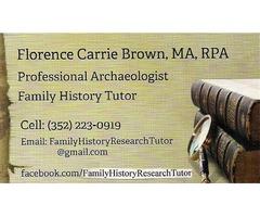 Family History Tutor, Genealogist, Genealogical Investigation Services