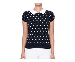 YeMAK Sweater | Classic Collar Short Sleeves Polka Dot Stretchy Casual Pullover Sweater MK3673