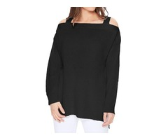 YeMAK Sweater | Long Sleeves Cold Shoulder Hip Length Stylish Casual Pullover Sweater MK3631