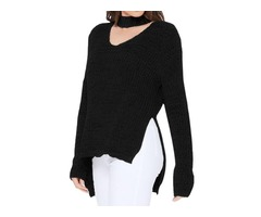 YeMAK Sweater | V-Neck Long Sleeves Side Slits Casual Loose Knit Pullover Sweater MK8143