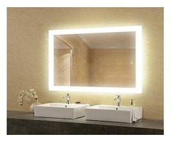 LED Bathroom Lighted Mirror 24x36 Inch, Lighted Vanity Mirror Includes Defogger