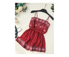 Embroidery Strap Womens Jumpsuit