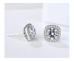 Sterling Silver Cushion Halo Zircon Stud Earrings