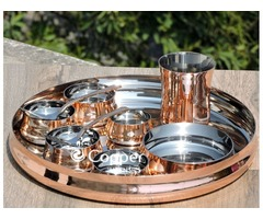 Serve a Scrumptious Meal in Our Stunning Traditional Copper Thali with Assorted Accessories