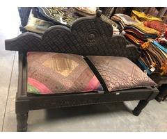 Antique Accent Lotus Carved Bench Settee Bohemian Yoga Studio Decor