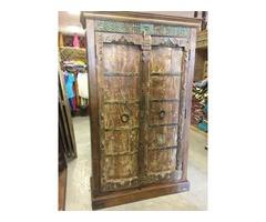 Old Door Antique Armoire Brown Iron Wine Cabinet Bedroom Decor