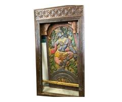 Huge Antique Hand Carved Frame Doorway Colorful Krishna Panel