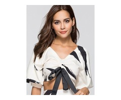 V-Neck Half Sleeve Lantern Sleeve Womens Blouse