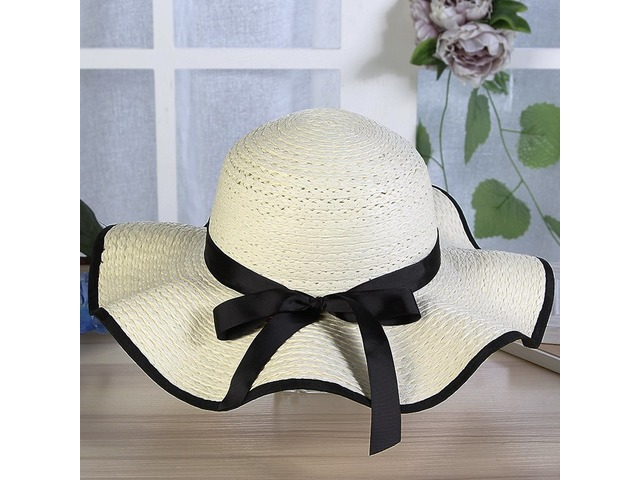 Wide Brim Dome Bowknot Embellished Sunshade Beach Hat | free-classifieds-usa.com