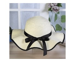 Wide Brim Dome Bowknot Embellished Sunshade Beach Hat