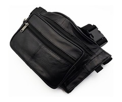 Leather Pistol Gun CCW Concealed Holster Belt Bag Waist Fanny Pack New Black