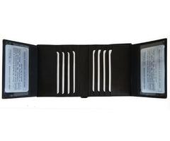 Men Bifold Hipster Wallet Premium Leather 2 ID 18 Card Holder Black Color