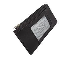 Women Long Credit Card Holder, Side Zipper Pocket, Snap Close Leather Wallet