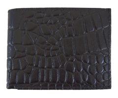 Mens Bifold Alligator Imprint Wallet, Leather Western Cowboy Card Holder Black