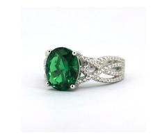 Sterling Silver Emerald & Zircon Ring