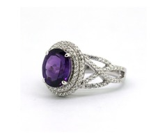 Sterling Silver White Zircon & Natural Amethyst Ring
