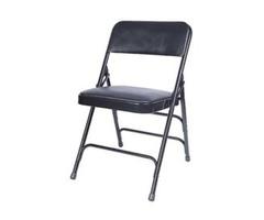 Chiavari Chairs Larry - Black Vinyl Metal Folding Chair