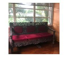 Antique Sofa Hand Carved Dark Teak Vintage Bench Indian Eclectic Millennial