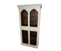 Antique Bookcase Style Arch White Brown Teak Bookshelf Storage Cabinet