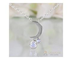 Moonstone Necklace - Crescent Moon - GSJ