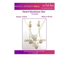 3 Tone Heart Necklace Set