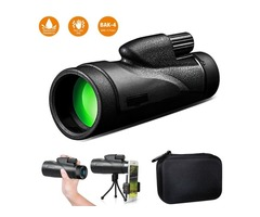 12X50 Monocular Telescope with Smart Phone Adapter Tripod and Storage Case, Single Hand Focus for Bi