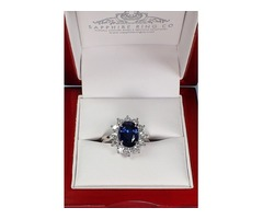 Blue Sapphire and platinum ring