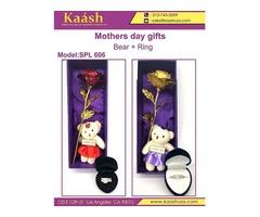 Caja de regalo especial para el día de la madre con oso y anillos