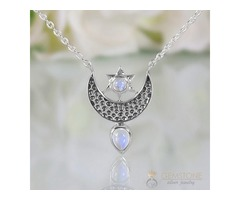 Moonstone Necklace - To The Moon & Back - GSJ
