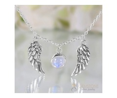 Moonstone Necklace - Angel Wings - GSJ